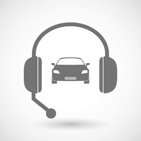 car care center: Illustration of a remote assistance headset icon with  a car