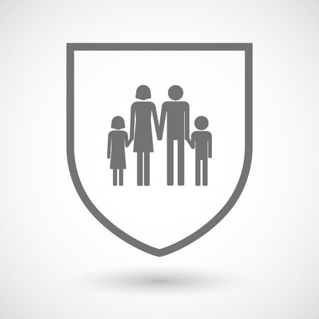 Illustration of an isolated line art shield icon with a conventional family pictogram