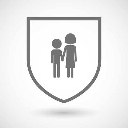 orphan: Illustration of an isolated line art shield icon with a childhood pictogram