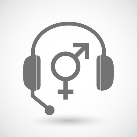 trans gender: Illustration of a remote assistance headset icon with a transgender symbol