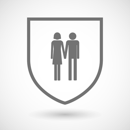 heterosexual: Illustration of an isolated line art shield icon with a heterosexual couple pictogram