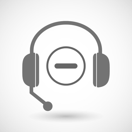 subtraction: Illustration of a remote assistance headset icon with  a subtraction sign