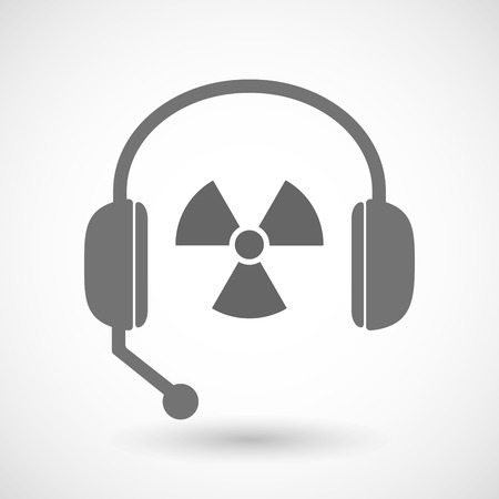 radio activity: Illustration of a remote assistance headset icon with  a radio activity sign