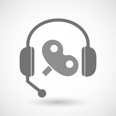crank: Illustration of a remote assistance headset icon with a toy crank Illustration