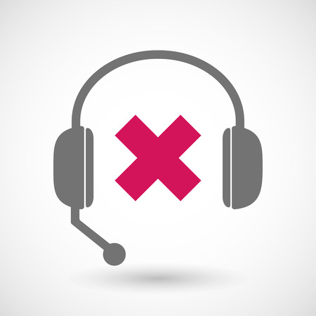 rejection: Illustration of a remote assistance headset icon with  an x sign