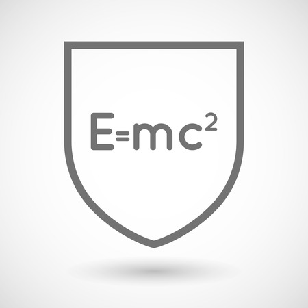 relativity: Illustration of an isolated line art shield icon with the Theory of Relativity formula