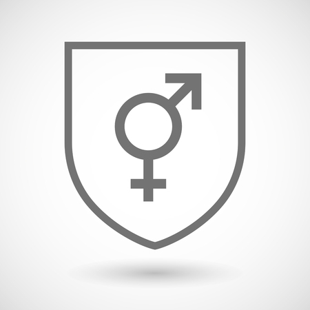 transgender: Illustration of an isolated line art shield icon with a transgender symbol Illustration