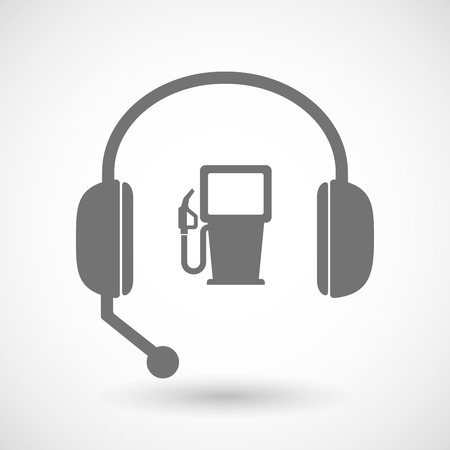 energy center: Illustration of a remote assistance headset icon with  a gas station