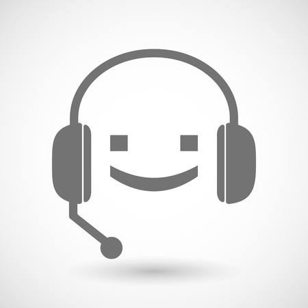 face with headset: Illustration of a remote assistance headset icon with a smile text face