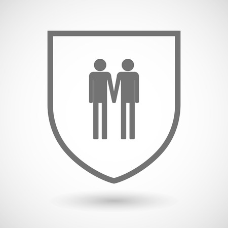 gay couple: Illustration of an isolated line art shield icon with a gay couple pictogram
