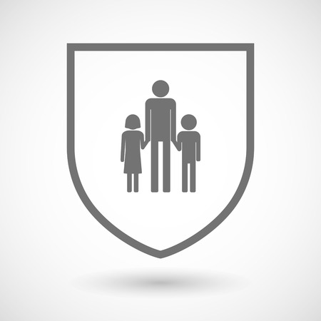 single family: Illustration of an isolated line art shield icon with a male single parent family pictogram Illustration