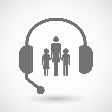 call centre girl: Illustration of a remote assistance headset icon with a female single parent family pictogram Illustration