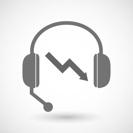 descending: Illustration of a remote assistance headset icon with  a descending graph