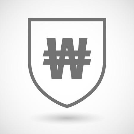 won: Illustration of an isolated line art shield icon with a won currency sign Illustration