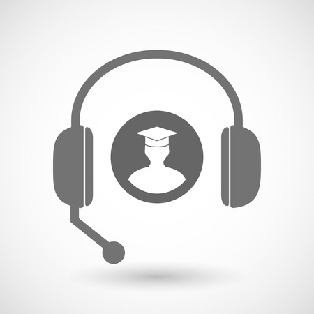 Illustration of a remote assistance headset icon with  a student Ilustração