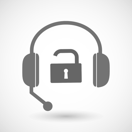 remote lock: Illustration of a remote assistance headset icon with  an open lock pad Illustration