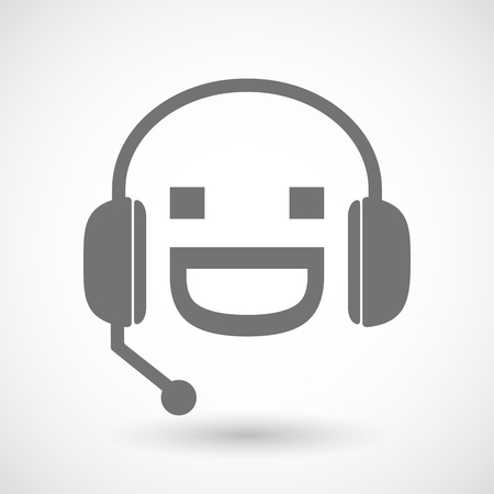 face with headset: Illustration of a remote assistance headset icon with a laughing text face Illustration