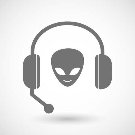 face with headset: Illustration of a remote assistance headset icon with  an alien face