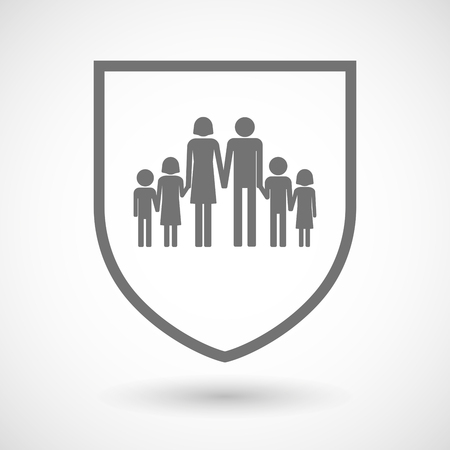 Illustration of an isolated line art shield icon with a large family  pictogram Illustration