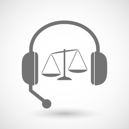 unbalanced: Illustration of a remote assistance headset icon with  an unbalanced weight scale