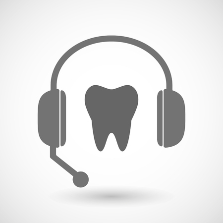 dental assistant: Illustration of a remote assistance headset icon with  a tooth Illustration