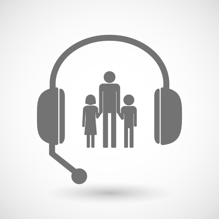 single parent: Illustration of a remote assistance headset icon with a male single parent family pictogram