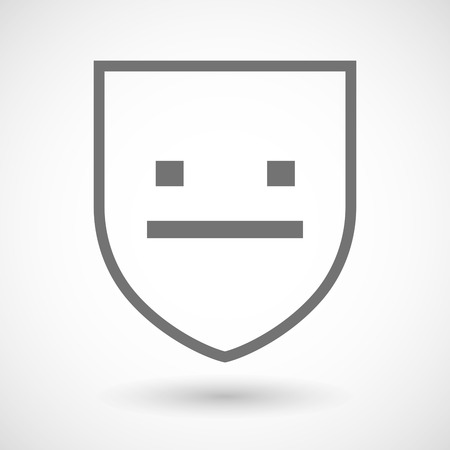 emotionless: Illustration of an isolated line art shield icon with a emotionless text face