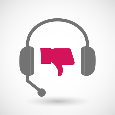 customer support: Illustration of a remote assistance headset icon with  a thumb down hand
