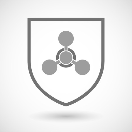 chemical weapon sign: Illustration of an isolated line art shield icon with a chemical weapon sign