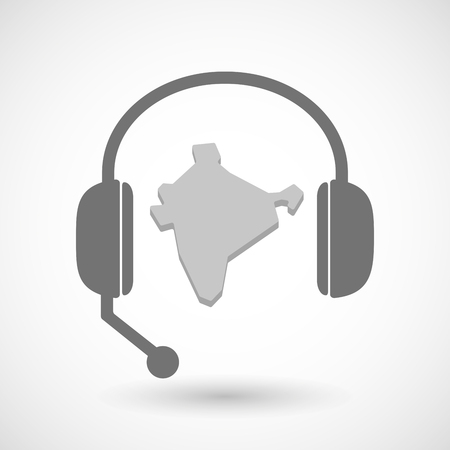 Illustration of a remote assistance headset icon with  a map of India