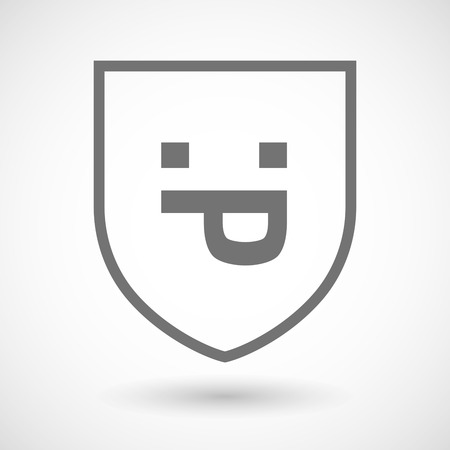sacar la lengua: Illustration of an isolated line art shield icon with a sticking out tongue text face