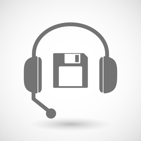 remote backup service: Illustration of a remote assistance headset icon with  a floppy disk