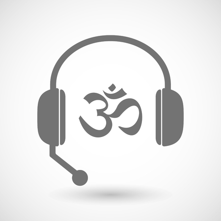 meditation help: Illustration of a remote assistance headset icon with  an om sign Illustration