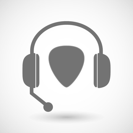 plectrum: Illustration of a remote assistance headset icon with a plectrum Illustration