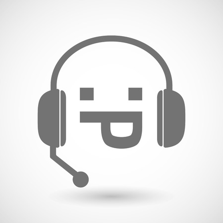face with headset: Illustration of a remote assistance headset icon with a sticking out tongue text face