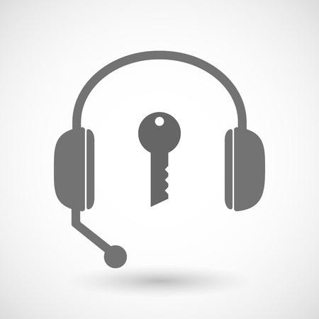 remote lock: Illustration of a remote assistance headset icon with  a key