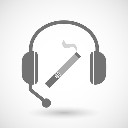 vaporizer: Illustration of a remote assistance headset icon with an electronic cigarette