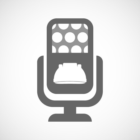 safe and sound: Illustration of an isolated microphone icon with a work helmet Illustration
