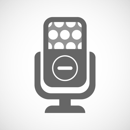 subtraction: Illustration of an isolated microphone icon with a subtraction sign
