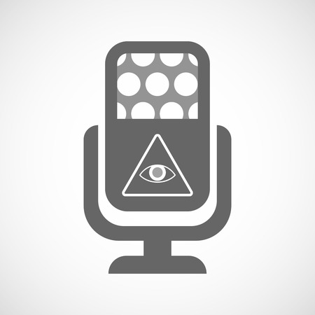 all seeing eye: Illustration of an isolated microphone icon with an all seeing eye Illustration