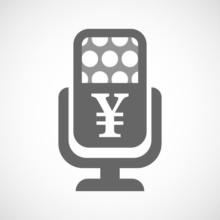 yen sign: Illustration of an isolated microphone icon with a yen sign