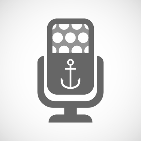 nautic: Illustration of an isolated microphone icon with an anchor
