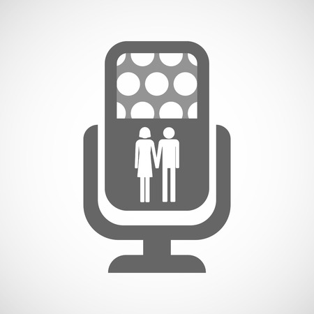 heterosexual: Illustration of an isolated microphone icon with a heterosexual couple pictogram