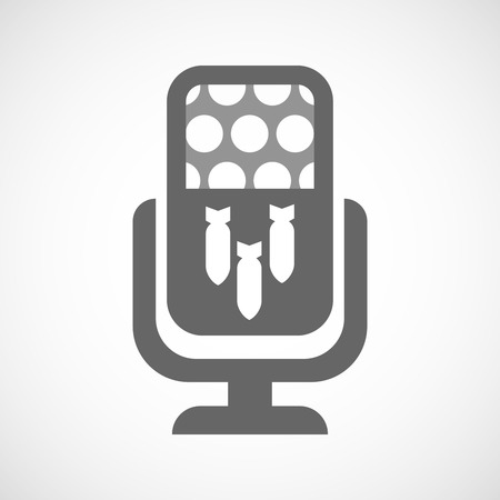bombs: Illustration of an isolated microphone icon with three bombs falling