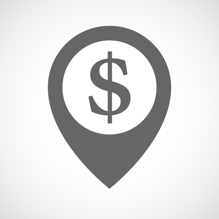 financial position: Illustration of an isolated map marker with a dollar sign Illustration