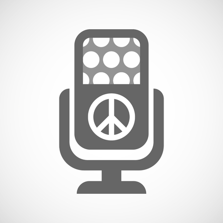 pacifist: Illustration of an isolated microphone icon with a peace sign