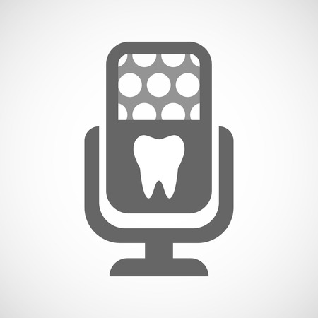 oral communication: Illustration of an isolated microphone icon with a tooth Illustration