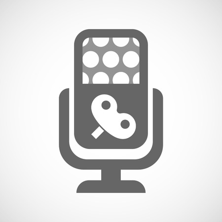 crank: Illustration of an isolated microphone icon with a toy crank Illustration