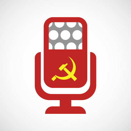 communist: Illustration of an isolated microphone icon with  the communist symbol