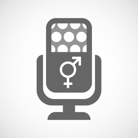 trans gender: Illustration of an isolated microphone icon with a transgender symbol Illustration